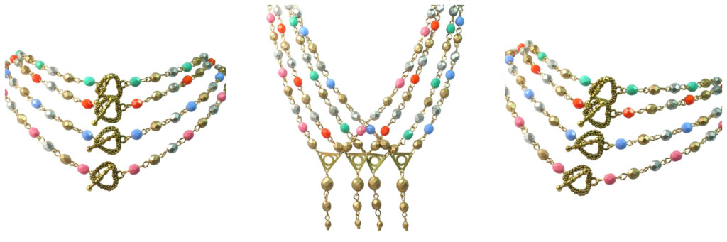 Colourful gold silver beaded necklace Collage