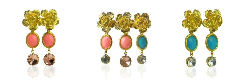 pink turquoise earrings Collage
